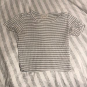 Grey and White Striped Cropped Tee